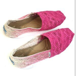 TOMS Crochet Ombre Pink/White Flats Size 8